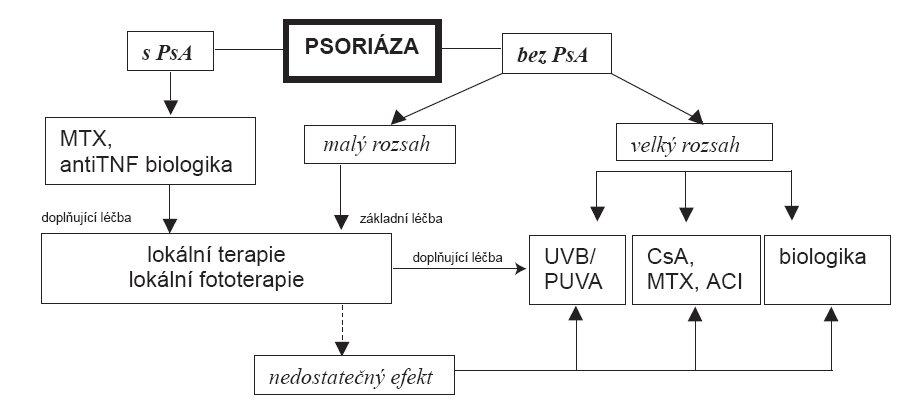 Algoritmus volby léčby – upraveno podle Mentera et al. (26). PsA = psoriatická artropatie, CsA = cyklosporin A, MTX = metotrexát, ACI = acitretin, UVB = fototerapie UVB spektrem, PUVA = fotochemoterapie PUVA