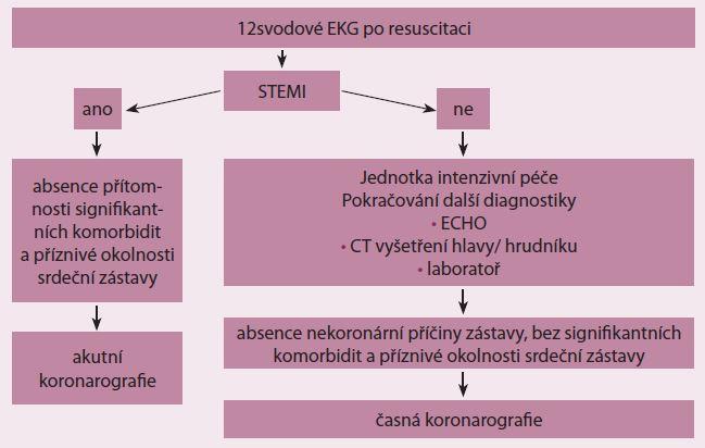 Strategie indikace akutního koronarografického vyšetření (upraveno podle European Association for Percutaneous Cardiovascular Interventions, EuroIntervention; 2014).