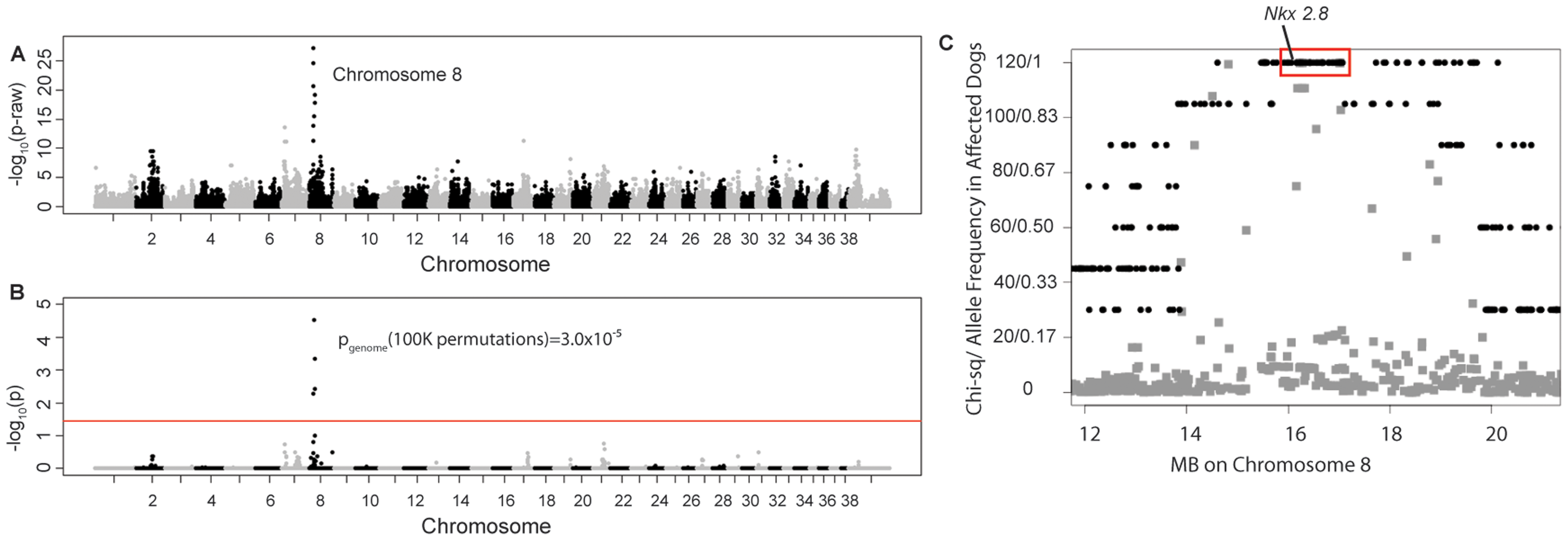 Manhattan plots of GWAS results for NTDs in Weimaraners (4 cases, 96 controls; λ = 1.03).