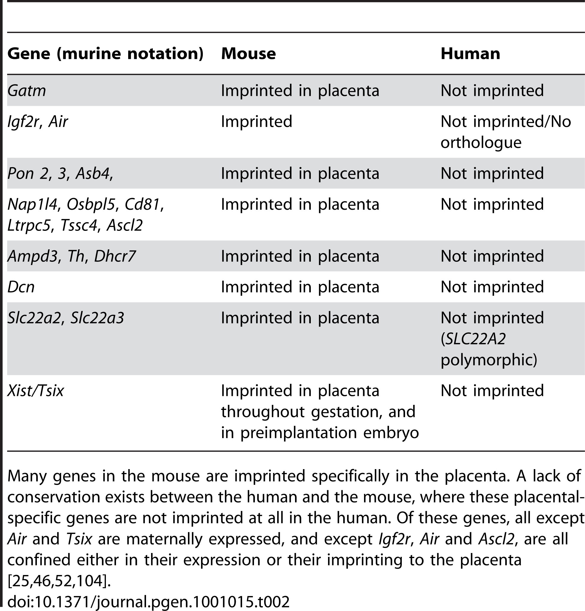Conservation of imprints in human and mouse <a href=&quot;http://igc.otago.ac.nz&quot;>http://igc.otago.ac.nz</a>.