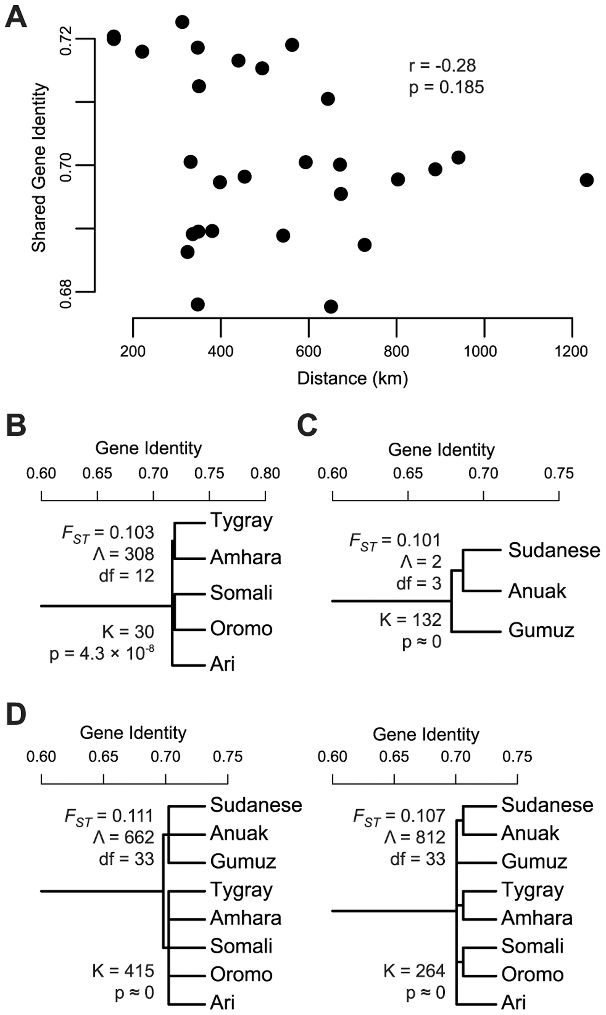 Tests of gene flow and population structure in the African ancestry of HOA populations.