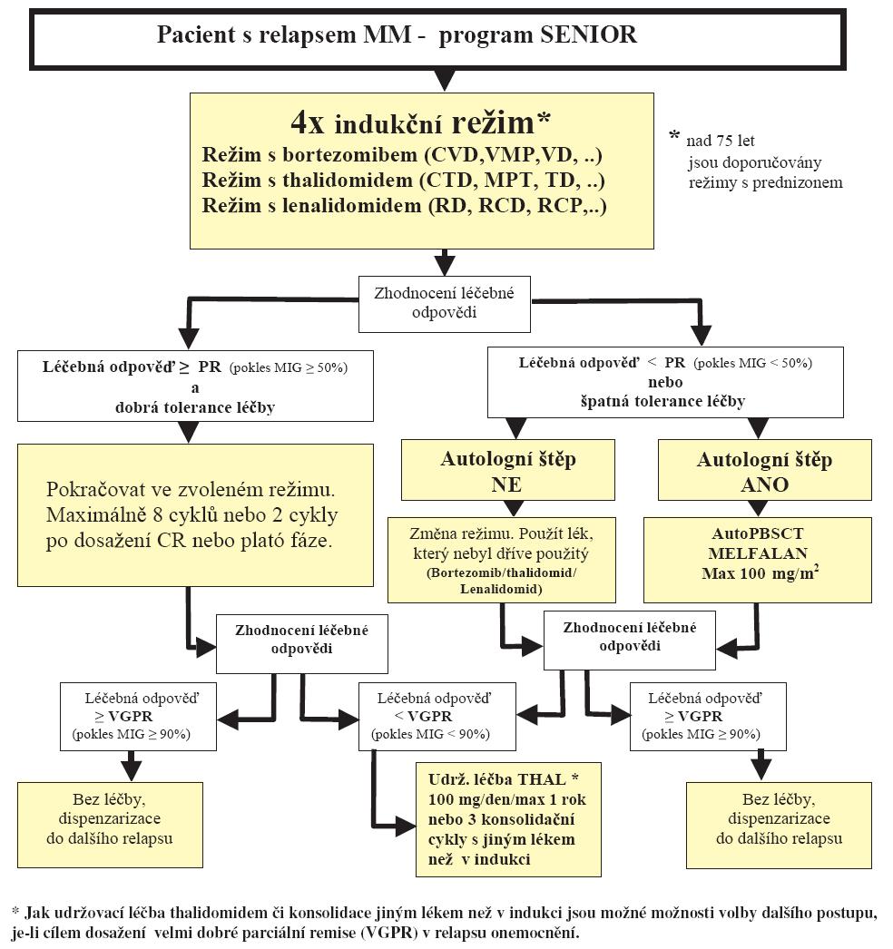 Schéma 4. Léčba mnohočetného myelomu pro pacienty nad 65 (75) let – léčba relapsu.