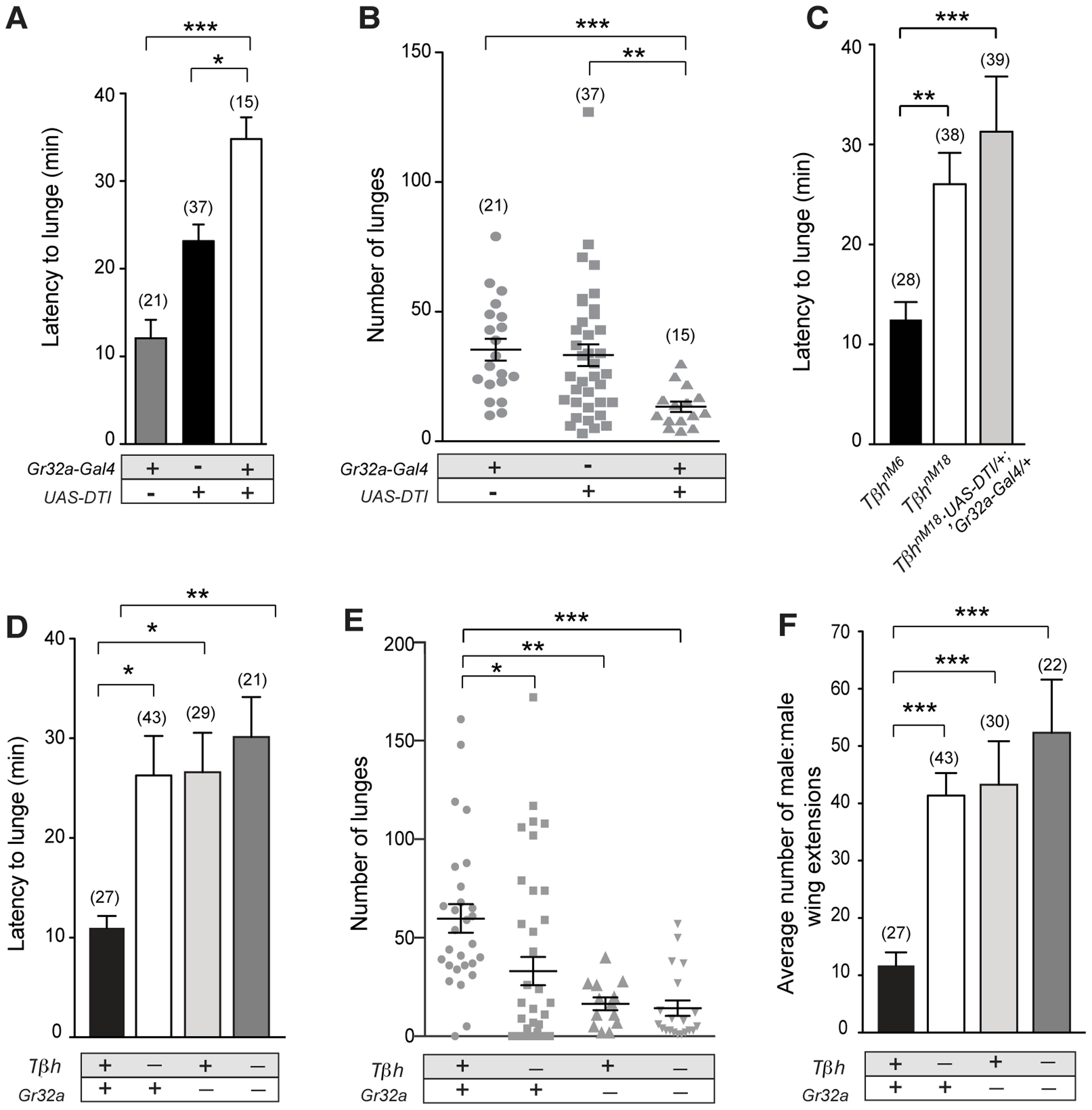 Gr32a-expressing neurons promote aggression via OA signaling.