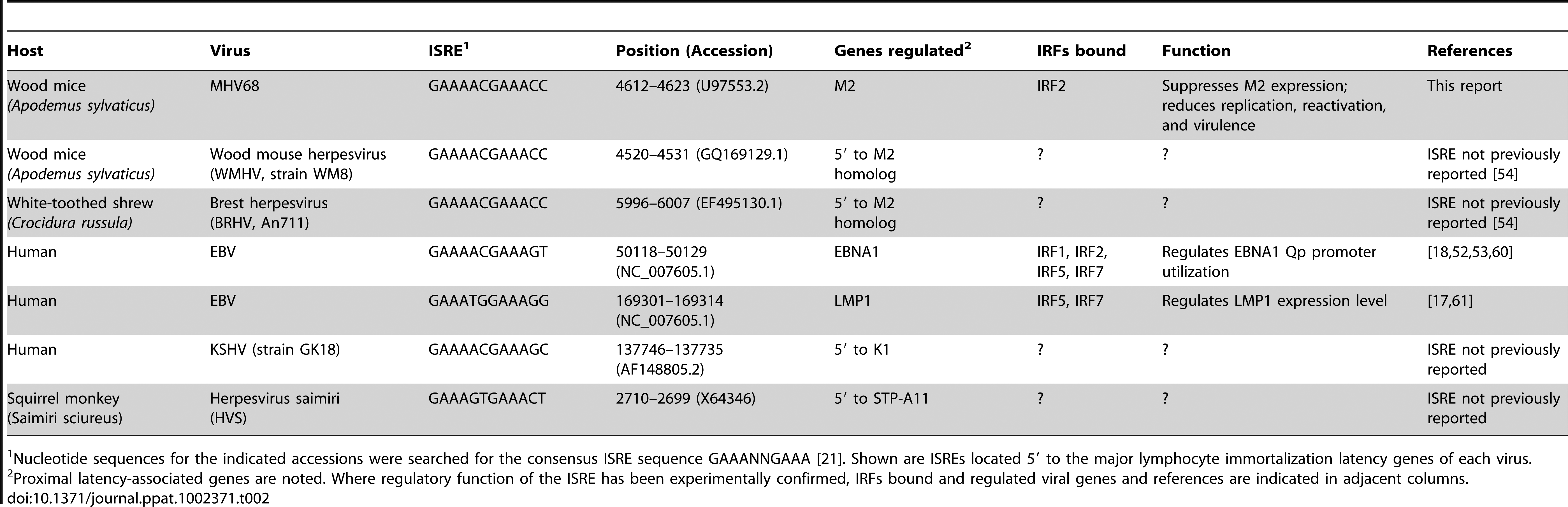 Gammaherpesvirus ISREs regulating genes involved in lymphocyte latency and immortalization.