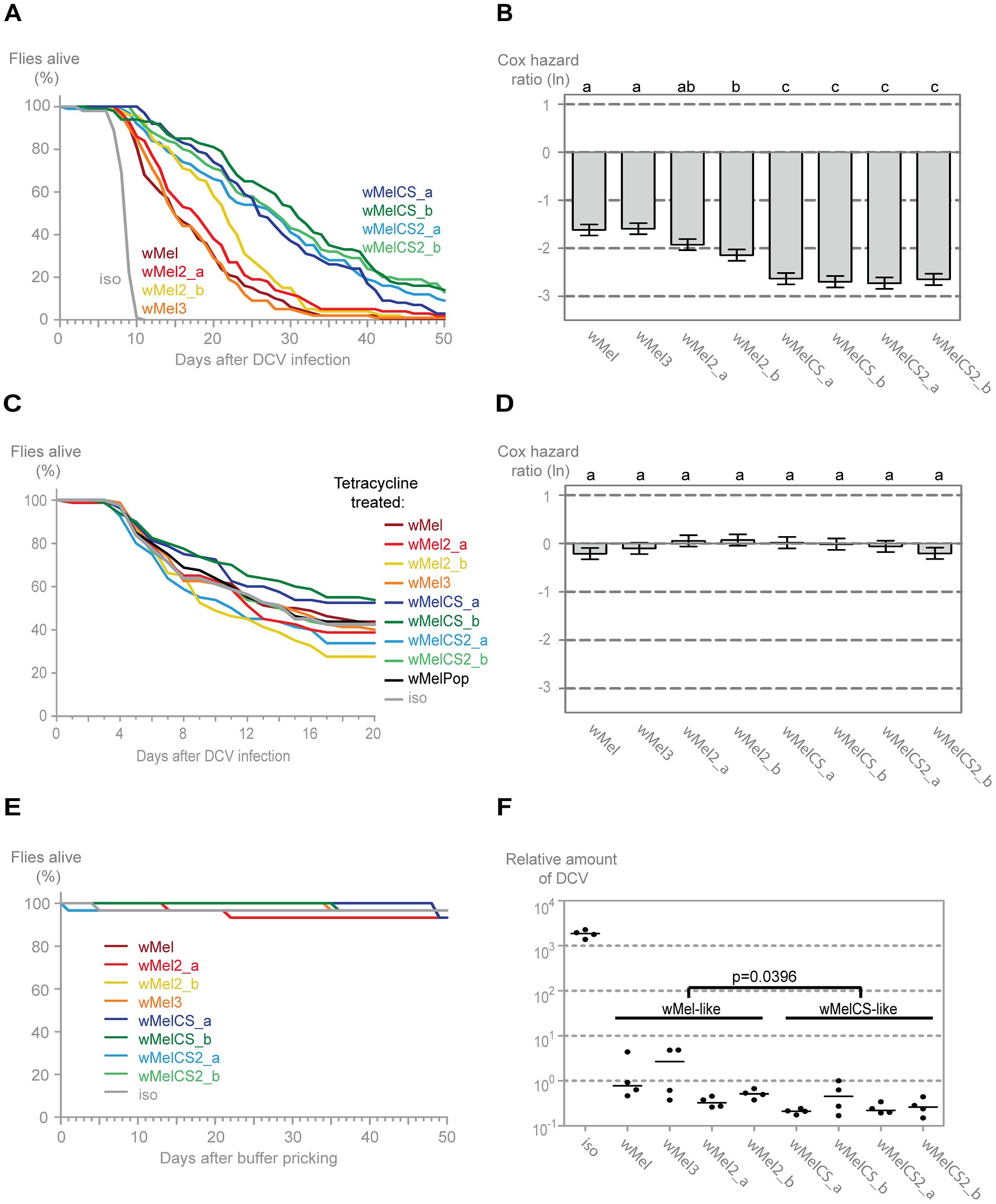 <i>Wolbachia w</i>Mel variants confer different protection to <i>Drosophila</i> C Virus.
