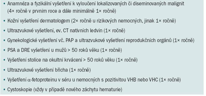 Protokol onkologického screeningu u nemocných po transplantaci.