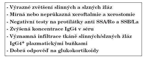 Přehled klasifikačních kritérií Mikuliczovy choroby; upraveno podle Masaki Y. et al. (6).
