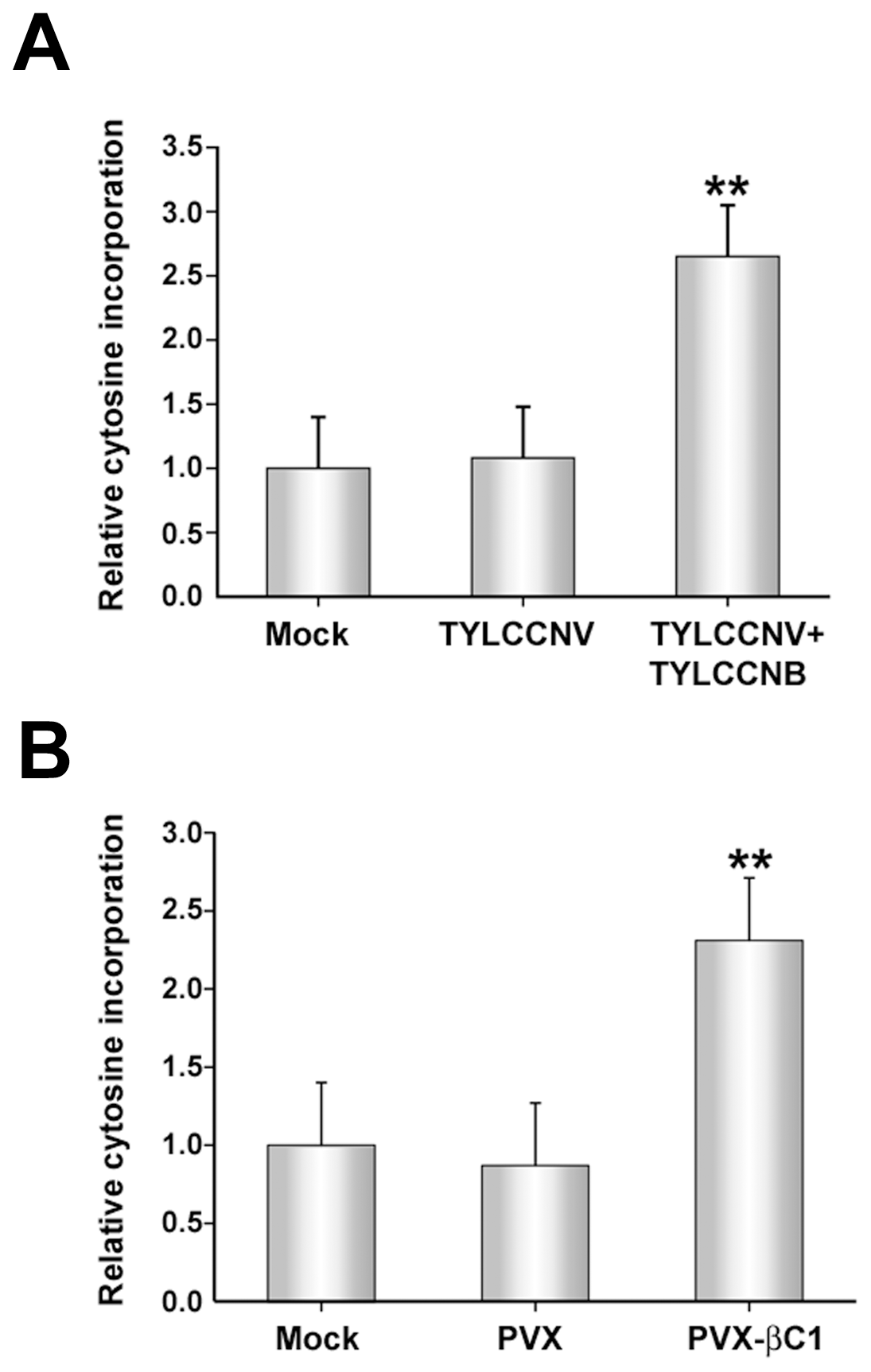 TYLCCNB, or βC1 expression, globally reduces cytosine methylation in the host genome.