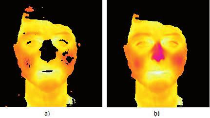 Fig. 3: The result of segmentation a) Merging of facial clusters. b) Result of segmentation after further adjustments.