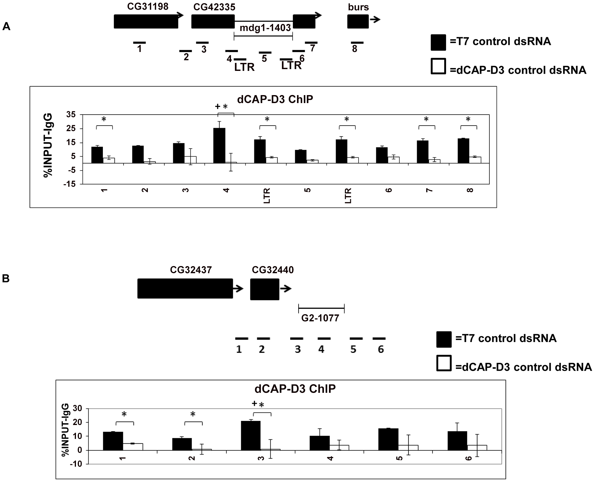dCAP-D3 binds to loci containing retrotransposons.