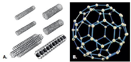 Príklady niektorých tvarov nanočastíc Vybrané druhy a tvary nanočastíc (A – uhlíkové nanorúrky, B – fulerény).