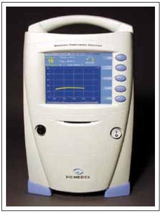 Přístroj pro přímé měření CBF v absolutních hodnotách (Hemedex).