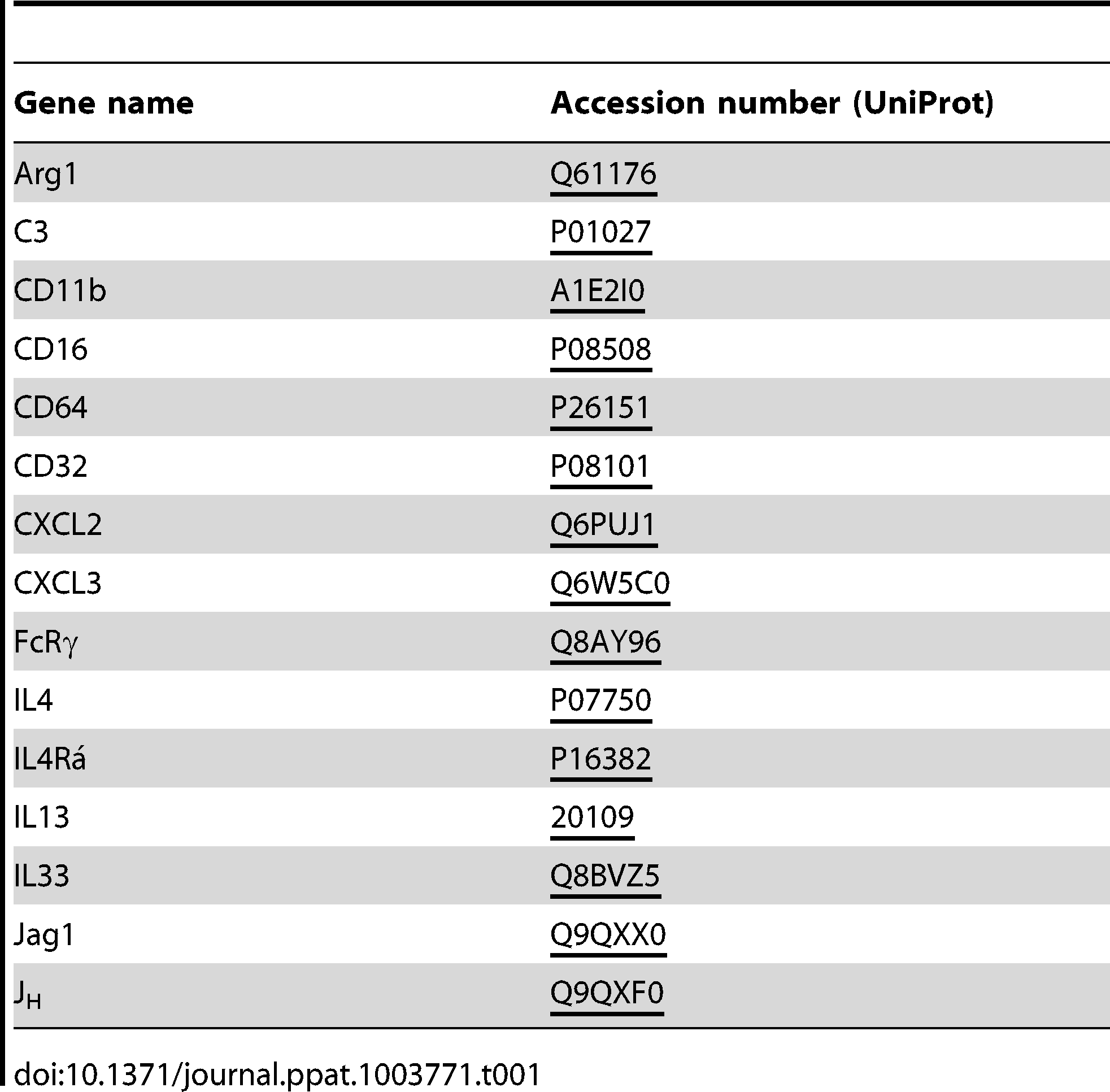 Accession numbers for abbreviations of gene name used in the text.