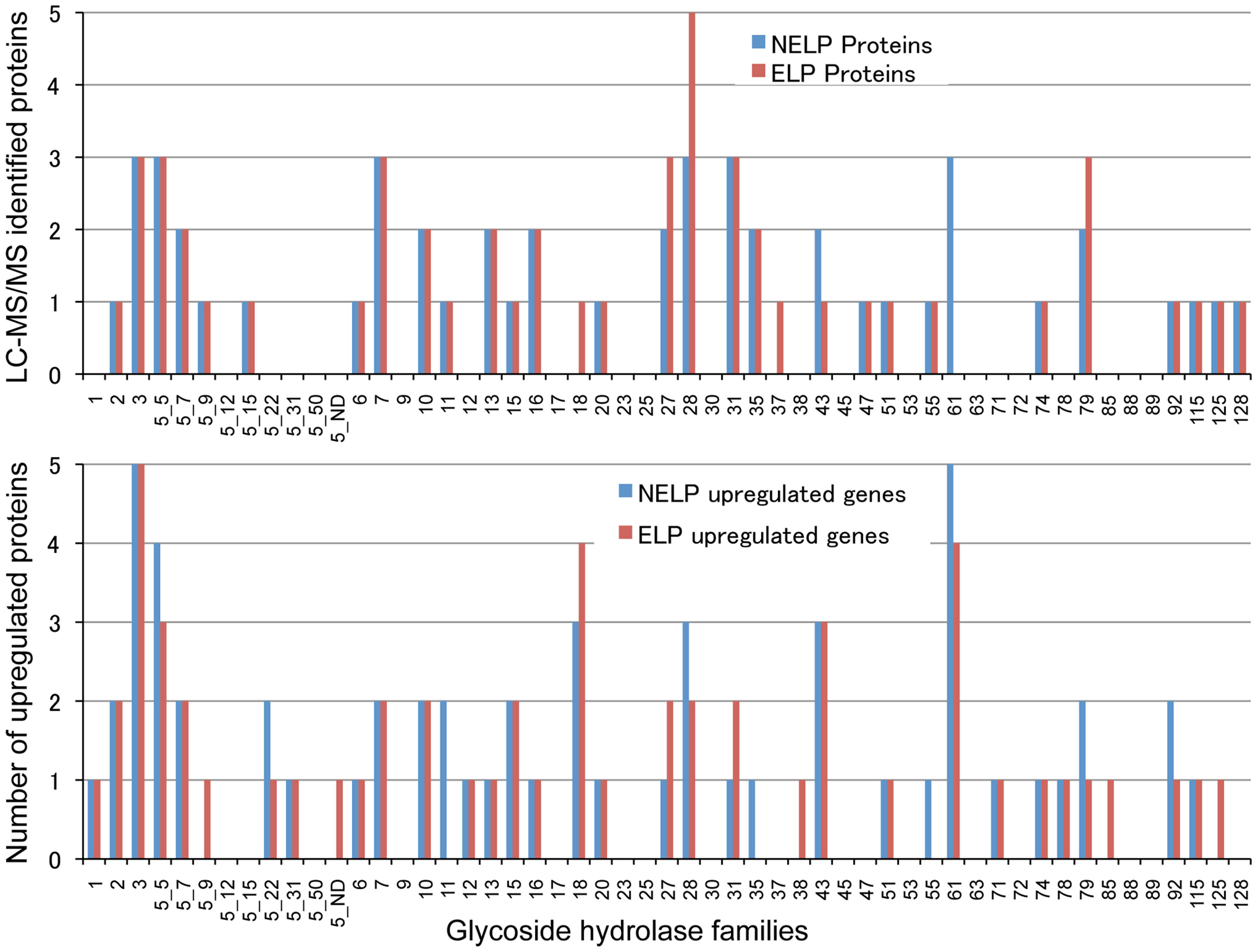 Glycoside hydrolase encoding genes show similar patterns of expression in media containing freshly ground and non-extracted loblolly pine wood (NELP) relative to the same substrate but extracted with acetone (ELP) to remove pitch and resins.
