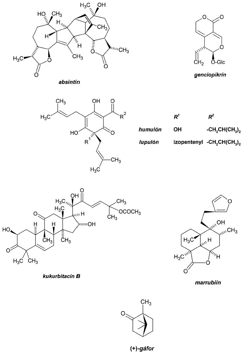Chemické vzorce terpénových horčín