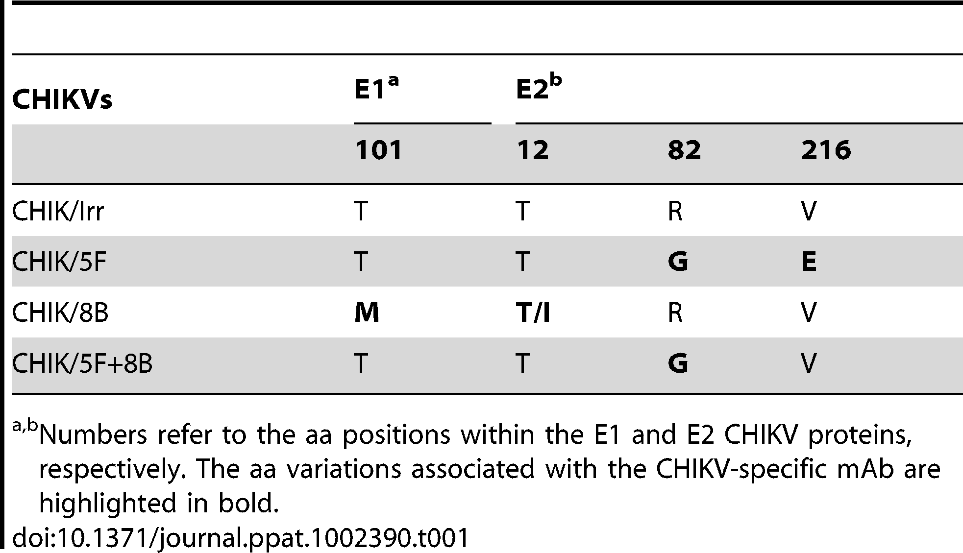 Amino acid variations in the E1 and E2 glycoproteins among CHIKV variants amplified over 8 rounds under mAb pressure.