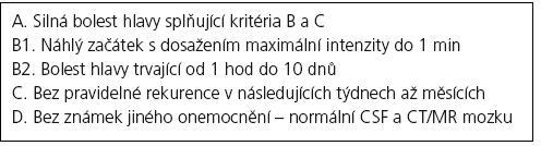 ICHD-II klasifikace – 4.6. Primární thunderclap headache.