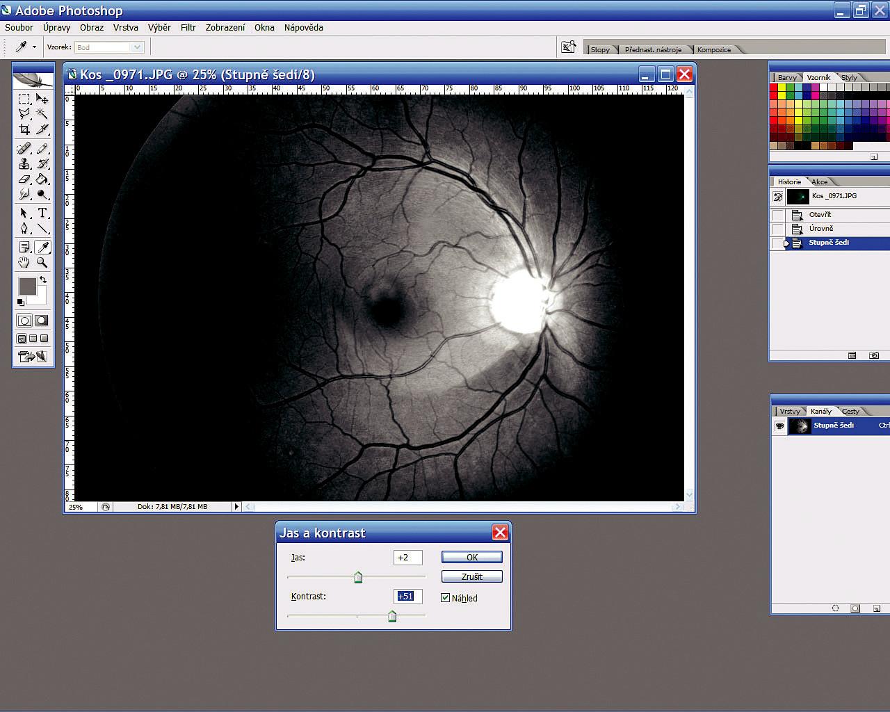 Úprava jasu, kontrastu a uložení snímku