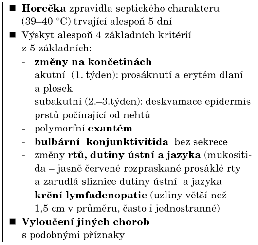 Klasická kritéria Kawasakiho choroby.
