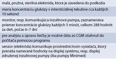 Základné charakteristiky senzora a CGM