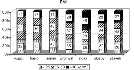 Rozložení hodnot BMI v souborech Vysvětlivky: BMI – body mass index, admin – administrativa, staveb – stavebnictví