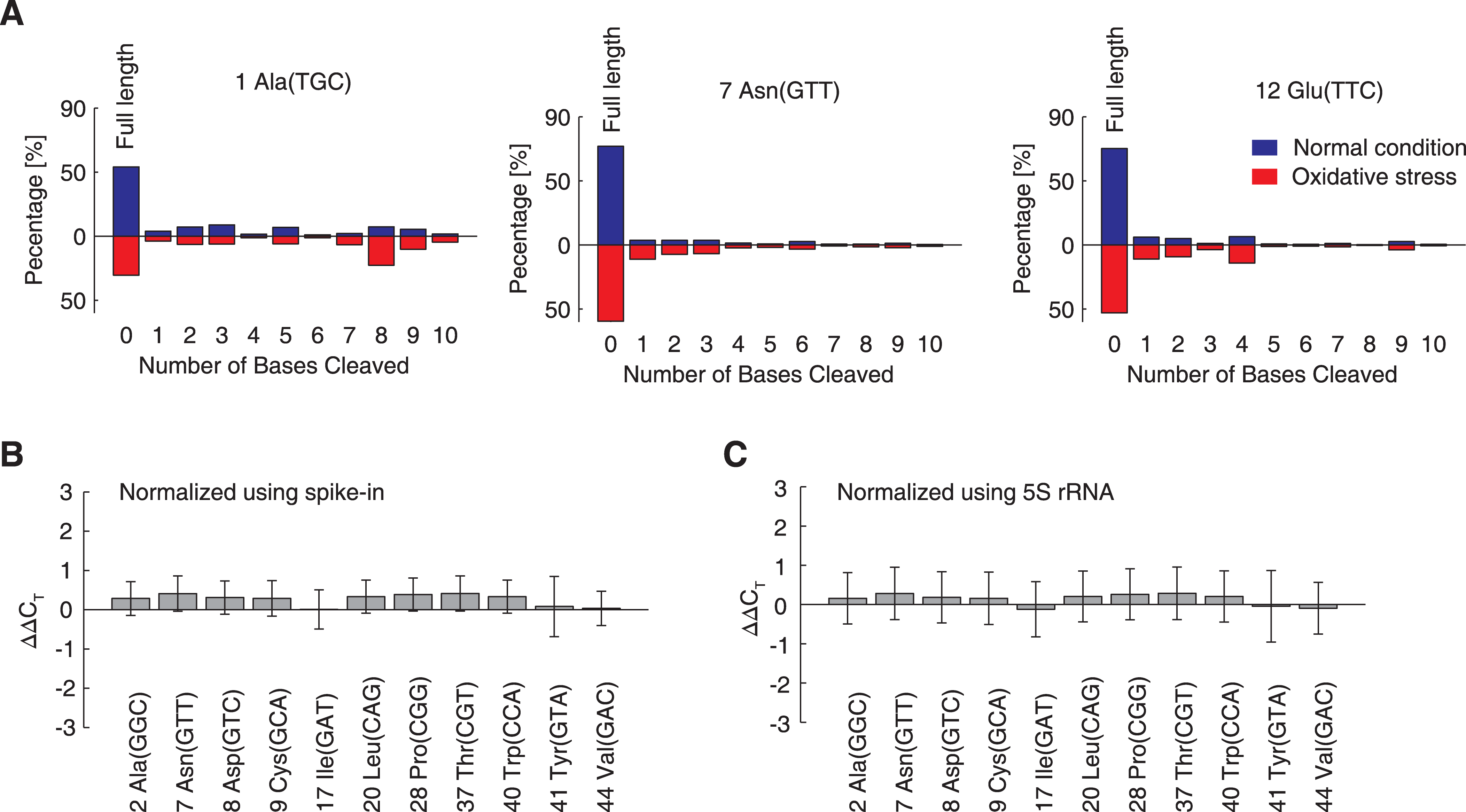 Under oxidative stress, tRNAs are degraded <i>in vivo</i>, but not in the cell-free <i>in vitro</i> translation system.