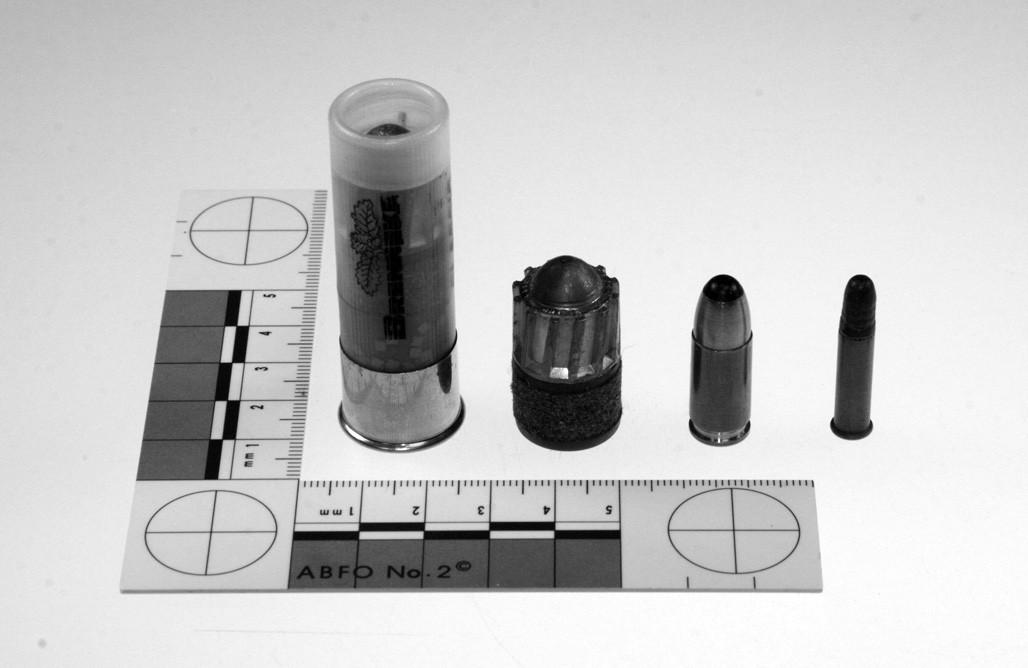 Struktura náboje Brenneke Classic ráže 16 a typické střely Brenneke stejné ráže ve srovnání s pistolovým nábojem ráže 9 mm Luger a malorážkovým nábojem ráže .22 LR (zleva doprava)