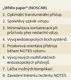 """Body definované ve """"White paper"""" skupiny NOSCAR , které je nutné zvládnout před zavedením NOTES do klinické praxe [1]. Tab. 1. Perceived barriers to the clinical adoption of NOTES defined in a """"White paper"""" by NOSCAR [1]."""