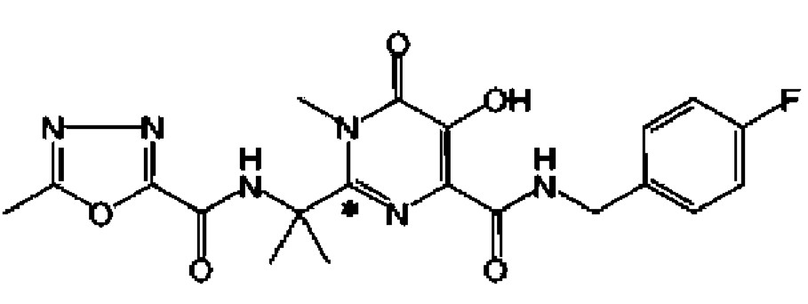Chemický vzorec raltegraviru (hydroxypyrimidinon karboxamidu)