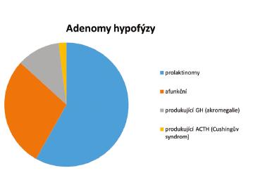 Poměrné zastoupení adenomů hypofýzy podle produkujících hormonů.