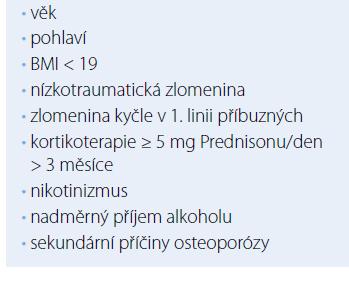 Klinické rizikové faktory OP.