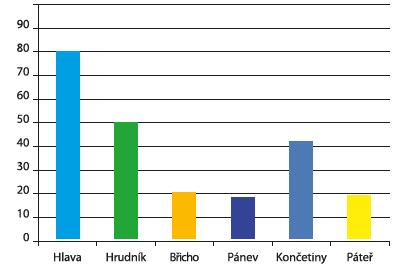 Poranění jednotlivých systémů (%)