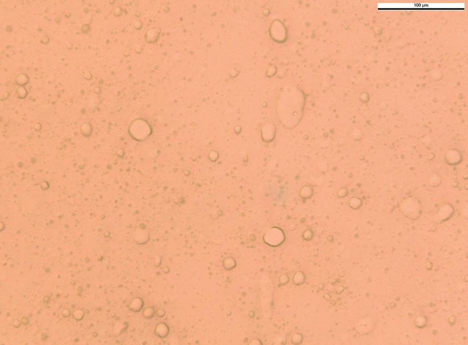 Lidokainový emulgel s 4 % lidokainu, 1 % levomentholu bez přísady trometamolu (90. den od přípravy, zvětšení 400x)
