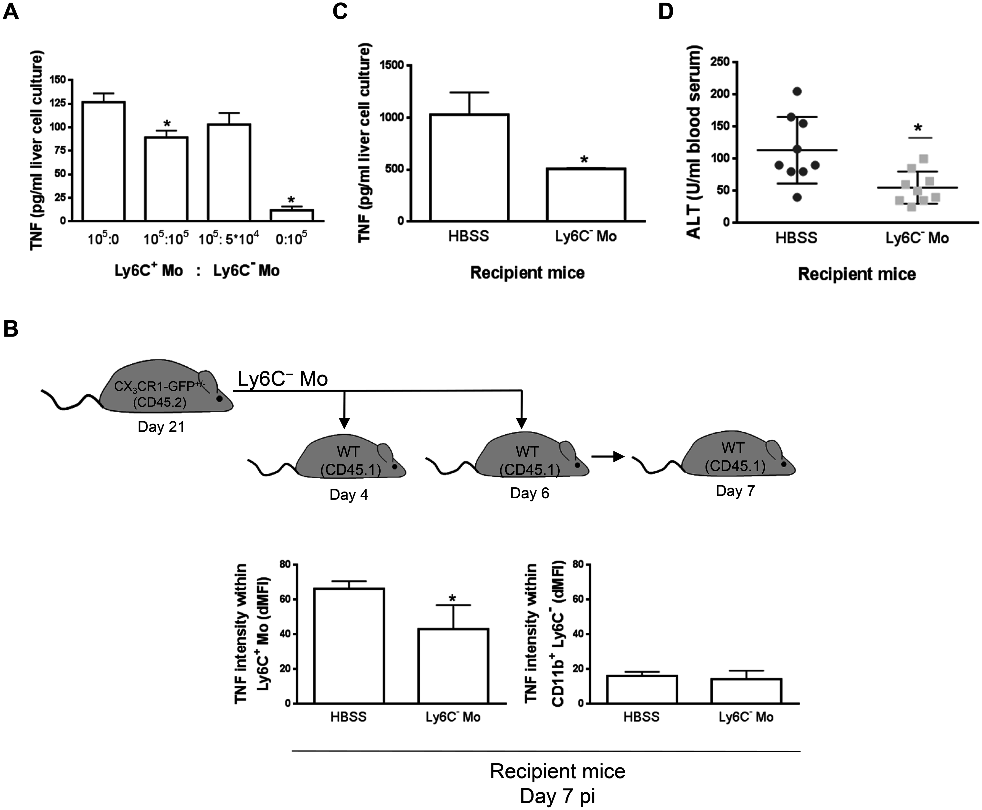 Ly6C<sup>-</sup> monocytes limit TNF production by Ly6C<sup>+</sup> monocytes in <i>T</i>. <i>congolense</i>-infected mice.