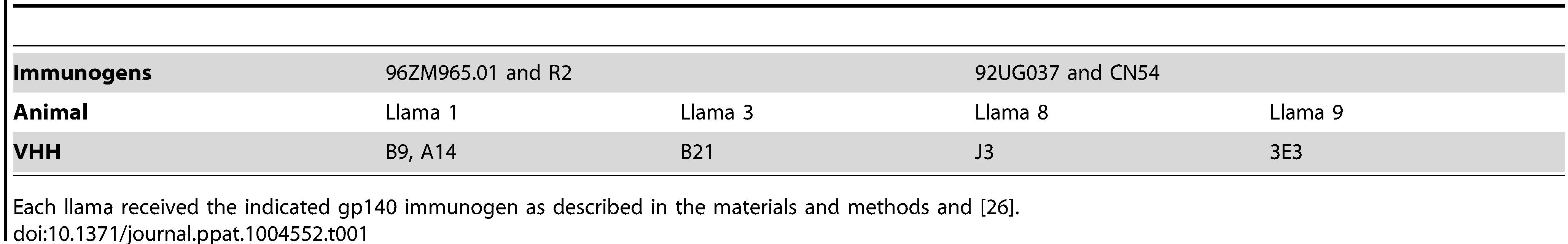 Summary of llama immunizations.