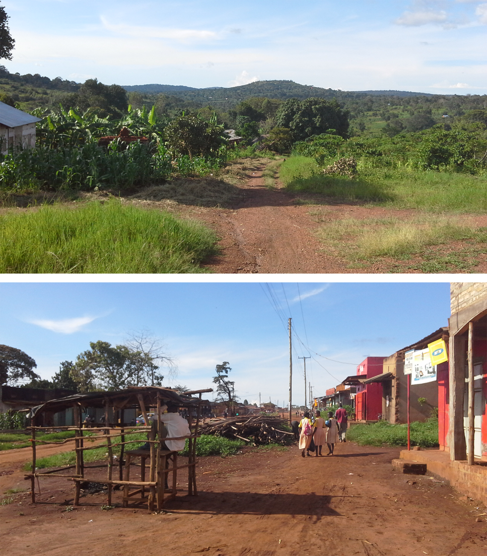 The main road in study villages in the lowest and highest urbanicity quartiles, Kyamulibwa, Uganda, 2011.
