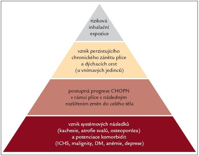 Schéma 1. Přehled rozvoje systémových konsekvencí CHOPN (volně vytvořené dle [109].