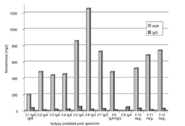Hodnoty sIgA a IgG spolu s údajem o výskytu spermaglutinačních protilátek v jednotlivých vzorcích ovulačního cervikálního sekretu (např. ve vzorcích č. 10-12 i přes celkové lokální hodnoty uvedených imunoglobulinů, antispermatozoidální aktivita byla nulová)