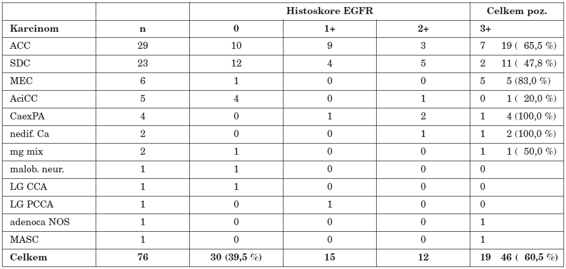 Histopatologický profil a histoskore karcinomů slinných žláz.