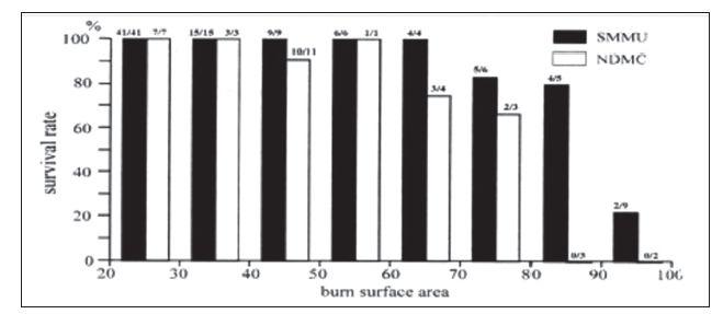 Fig. 7: Survival rate depending on TBSA - Burn Index