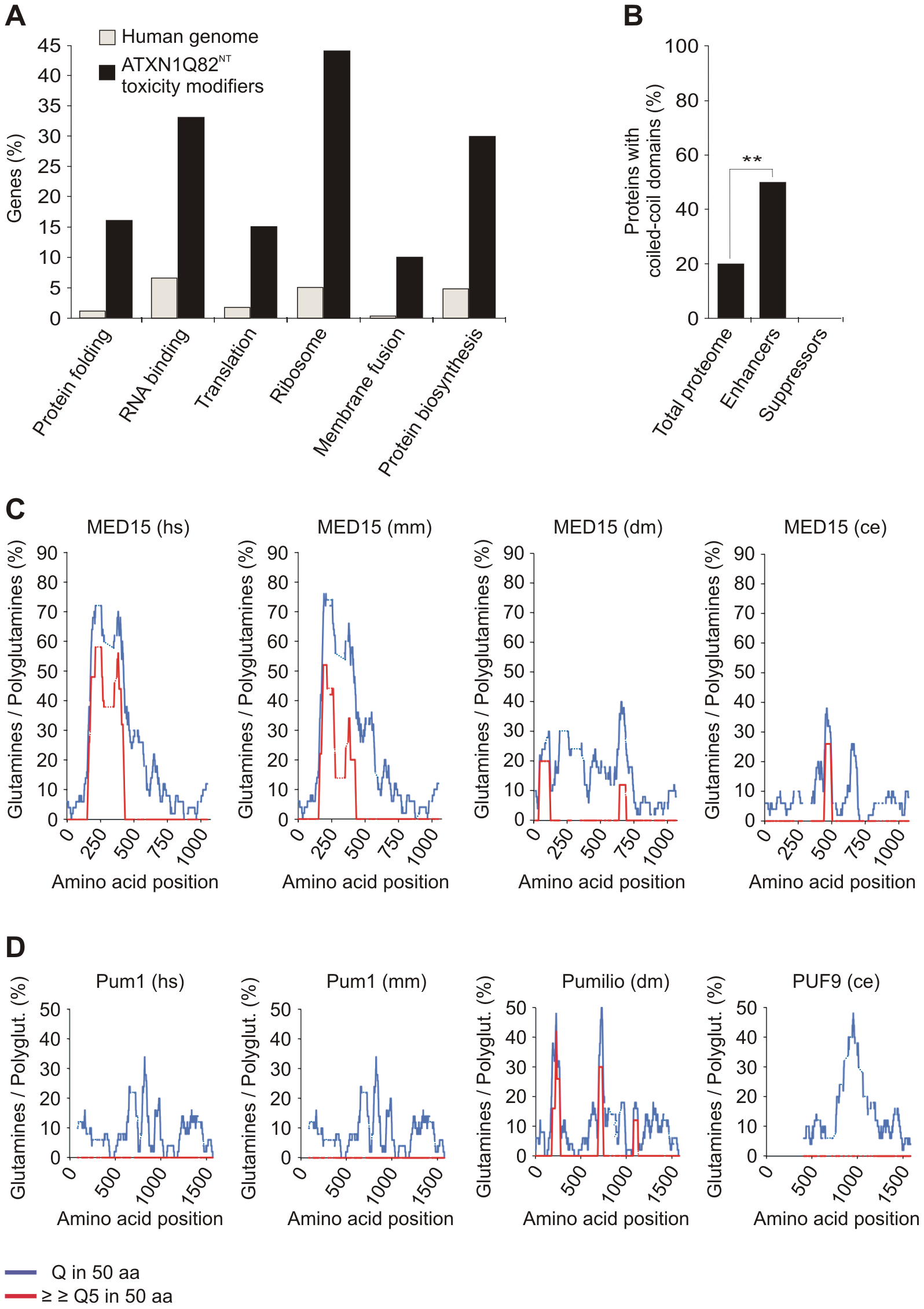 Specific functional categories and structural domains are over-represented among YFP-ATXN1Q82<sup>NT</sup> toxicity modifiers.
