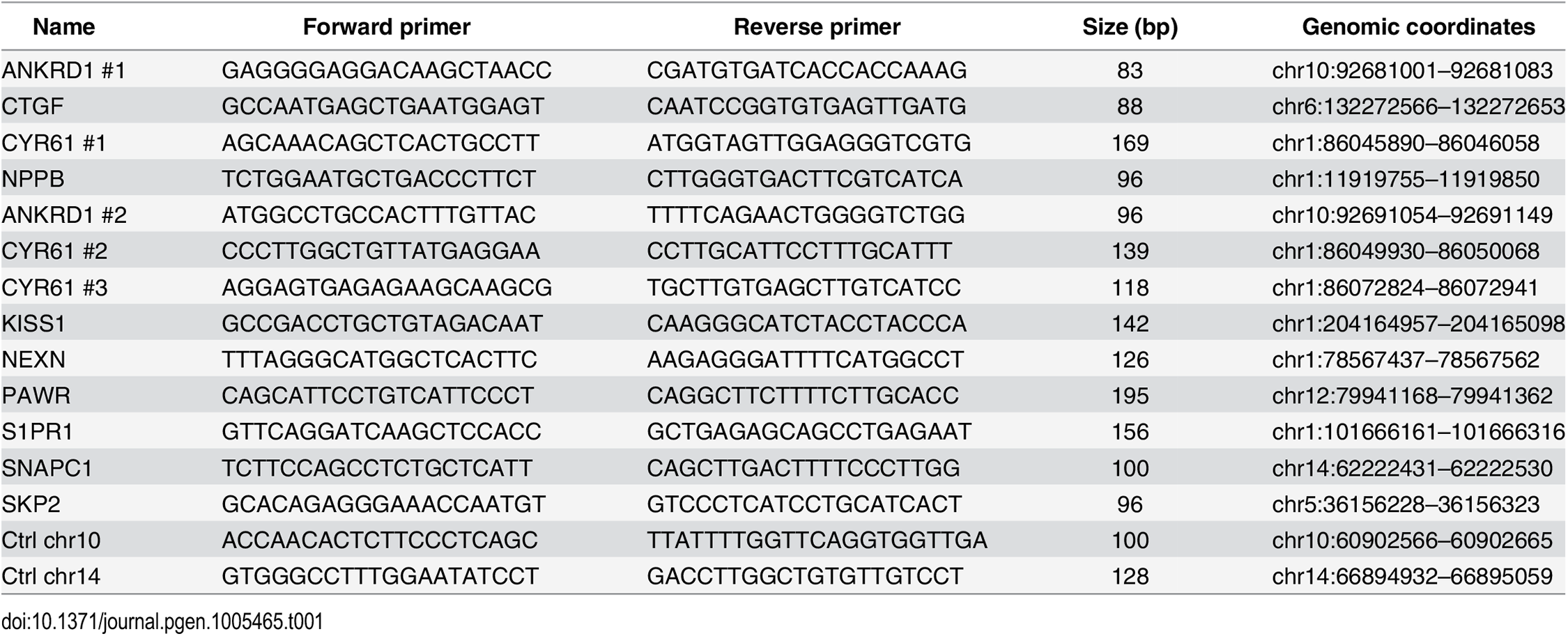 Primers used for ChIP-qPCR.