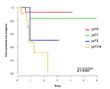 <i>Pravděpodobnost přežití bez progrese v celém souboru podle odpovědi na chemoterapii</i> Fig. 3. <i>Probability of progression-free survival by response to chemotherapy</i>