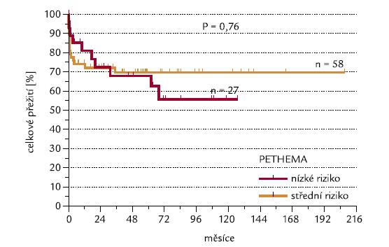 Skupiny s nízkým a středním rizikem dle PETHEMA [11] a OS.