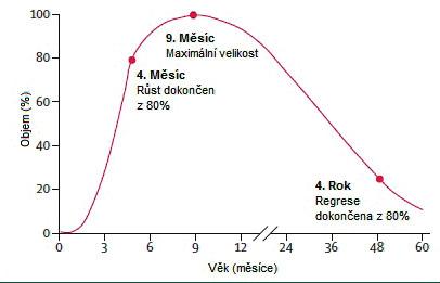 Růstové fáze hemangiomu.