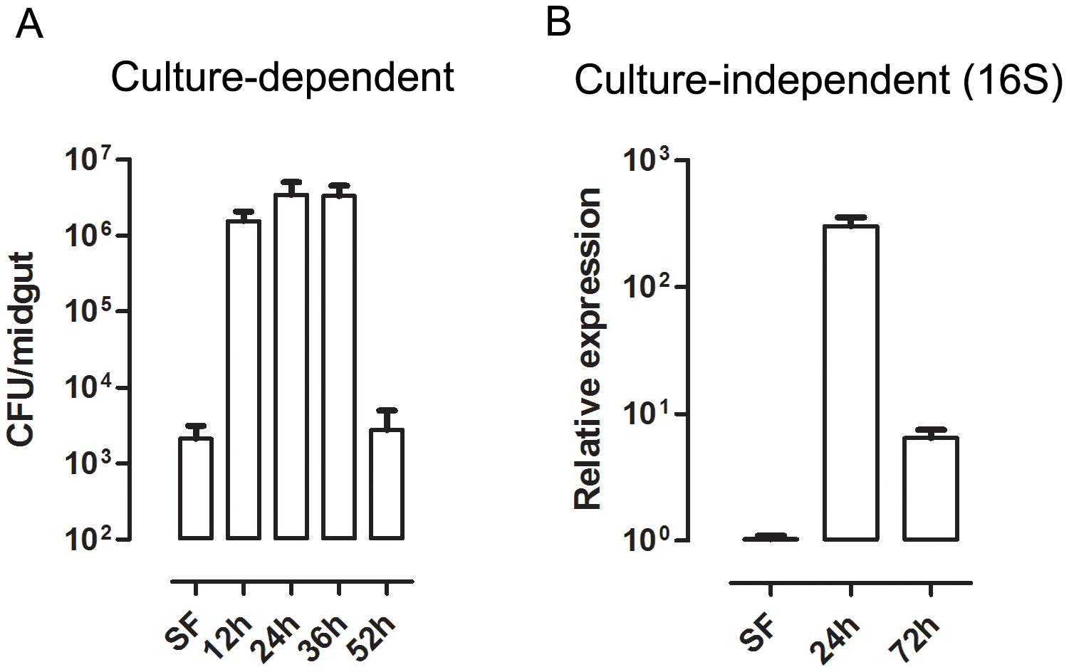 Time-course of microbial growth in <i>Aedes aegypti</i> midgut before and after a blood meal.