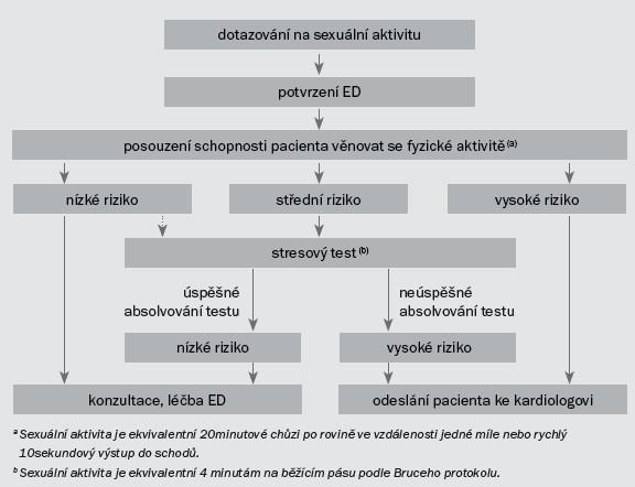 Schéma 2. Terapeutický algoritmus pro stanovení stupně sexuální aktivity na základě kardiovaskulárního rizika u pacientů s ED (na základě třetího konsenzu z Pricetonu) [19].