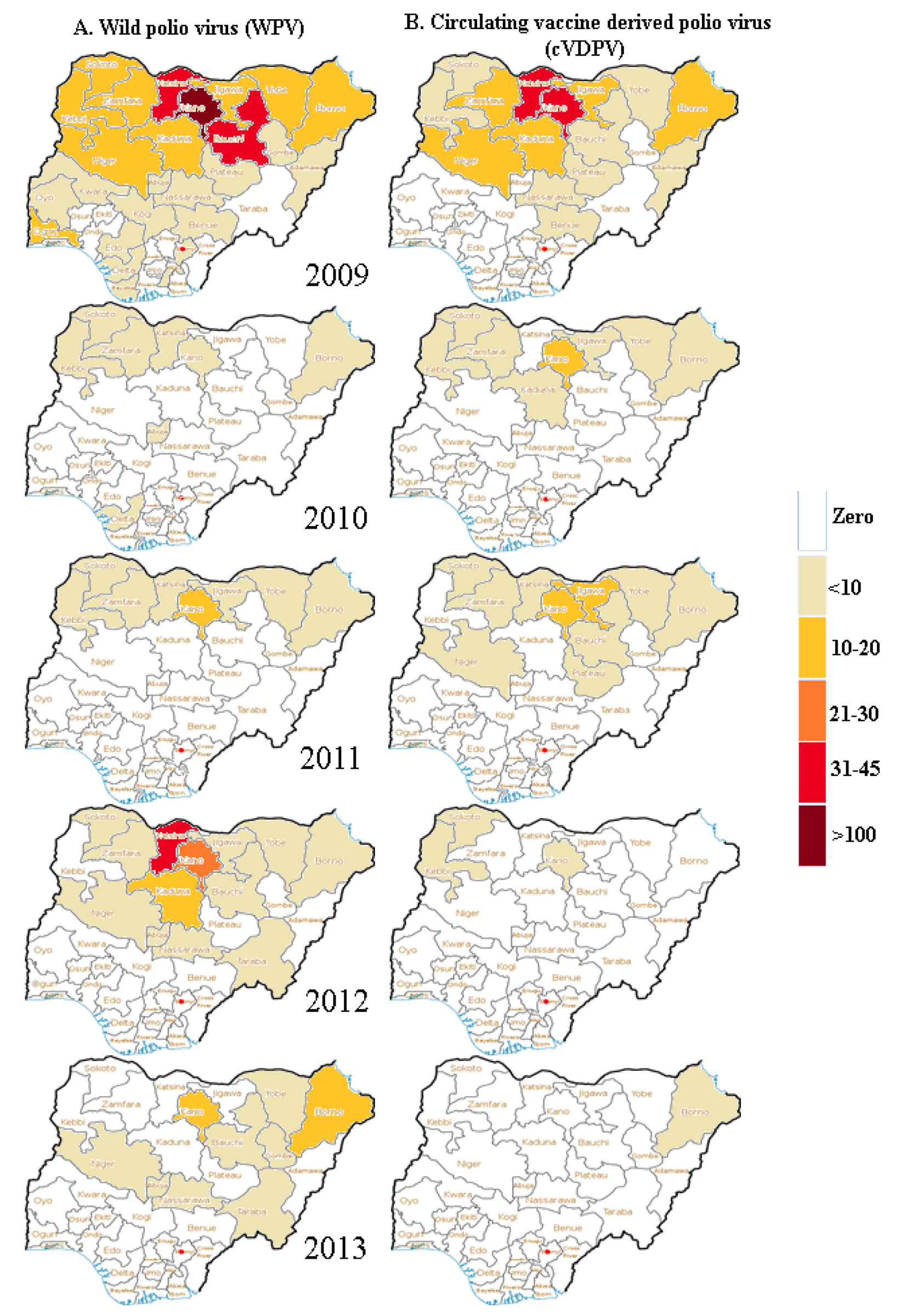 Pattern of occurrence of cases of wild poliovirus and circulating vaccine-derived poliovirus in Nigeria from 2009 to 2013.