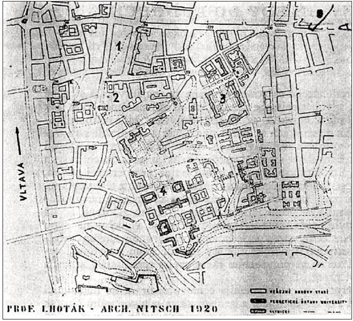 """Přehledný plán projektu """"Lhoták - Nitsch"""" z roku 1920 znázorňuje čtyři oblasti ústavu a klinik lékařské fakulty 1) Karlovo náměstí, 2) všeobecné nemocnice 3) nově budované kliniky v zahradě vedle svaté Kateřiny, 4) teoretické ústavy na Albertově"""
