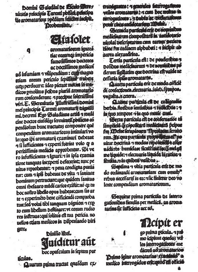 Titulná strana Saladinovho kompendia